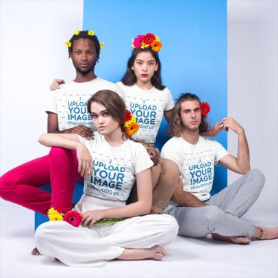 Multiracial Shot of Four Friends Wearing T-Shirts Mockup and Flowers a19922
