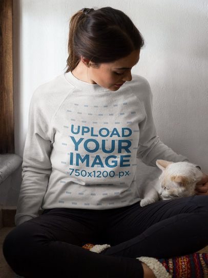Woman With Her White Cat Crewneck Mockup a18771