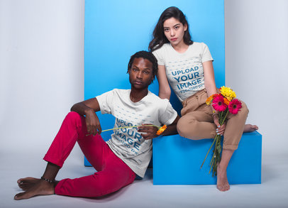 Asian Girl and Black Man Posing With Flowers T-Shirt Mockup 19954a