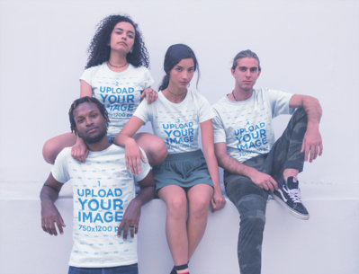 Group of Interracial Friends Wearing Shirts Mockup a20109