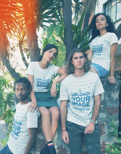 Interracial Group of Friends Wearing T-Shirts Mockup Near Plants a20092