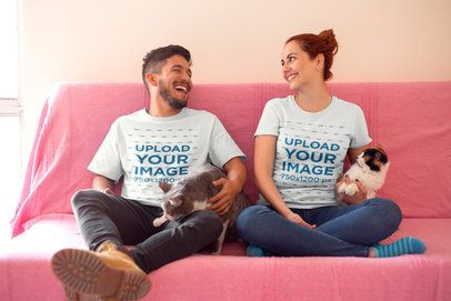 Roomies Wearing T-Shirts Mockup on the Couch with Their Cats a18982