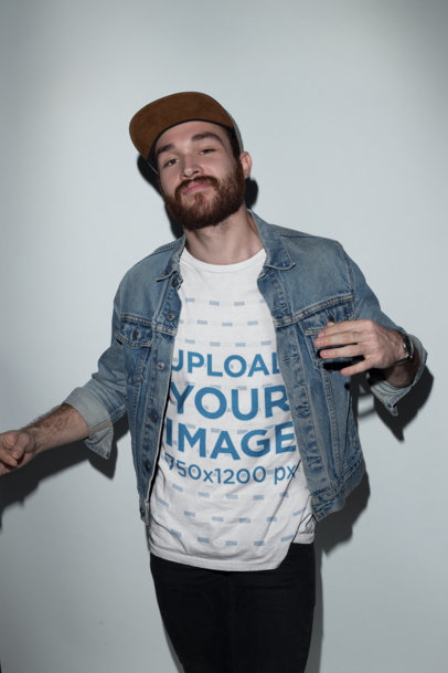 Redhead Guy with a Hat Wearing a T-Shirt Mockup and a Denim Jacket a18701