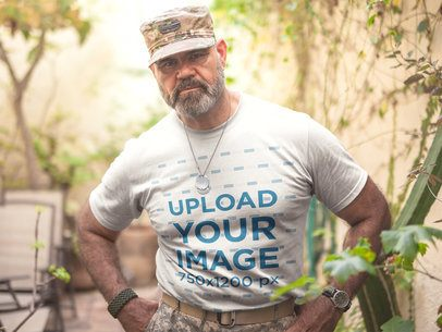 Mockup of a Veteran Soldier Wearing a T-Shirt a20623