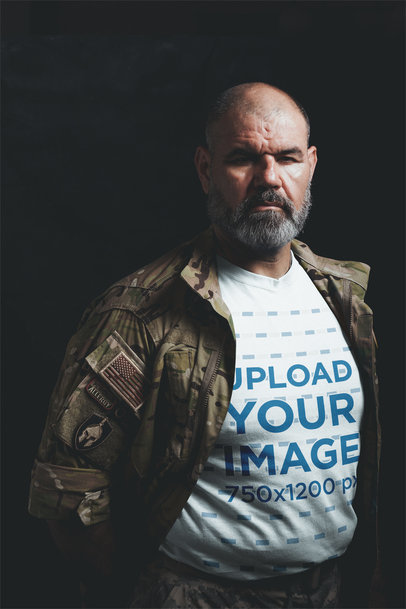 T-Shirt Mockup of a Veteran Wearing his Uniform in the Dark a20639