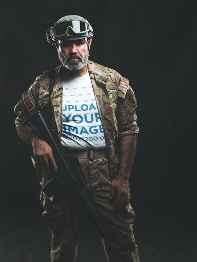 Portrait T-Shirt Mockup of a Military Man in Uniform a20643