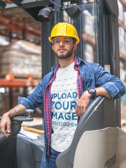 T-Shirt Mockup Being Worn by a Forklift Operator a20441