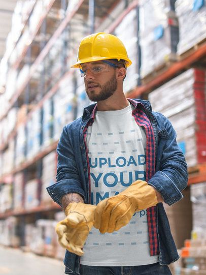Worker Wearing a T-Shirt Mockup with Protections at the Warehouse a20440