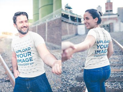 Loving Couple Walking Wearing T-Shirts Mockup Near by the Rail Trail a20617