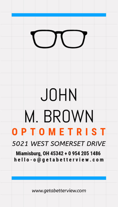 Minimal Optometrist Business Card Maker a172