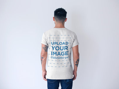 Back Shot of a T-Shirt Mockup Featuring a Man with Short Hair 20740