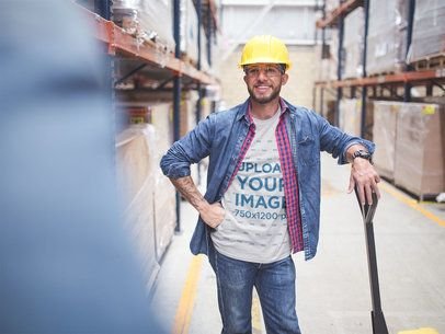 Warehouse Worker Having a Conversation Wearing a T-Shirt Mockup a20448
