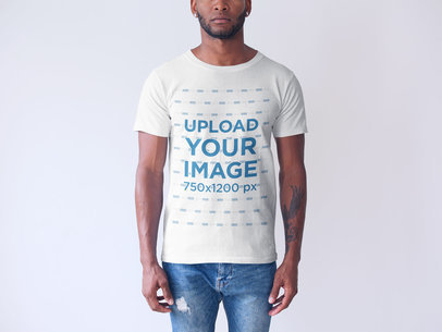 Generic T-Shirt Mockup Featuring a Cropped Face Black Man Against a White Background a20737