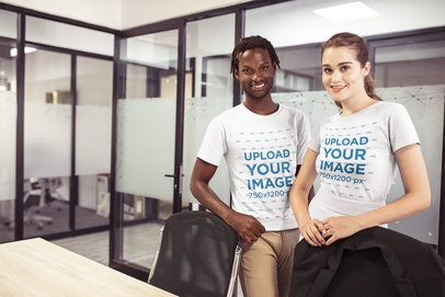 Interracial Group of Smiling Coworkers Wearing T-Shirts Mockup at the Office a20519
