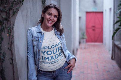 Smiling Senior Lady Wearing a T-Shirt Mockup at a Corridor a20369