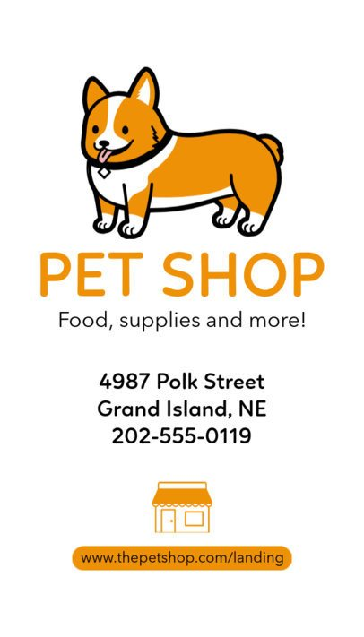 Pet Shop Vertical Business Card Template a184