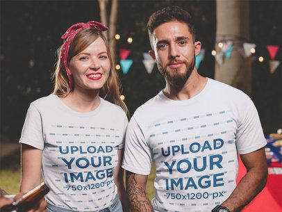 Friends Wearing T-Shirts Mockup at a 4th of July BBQ Party a20826