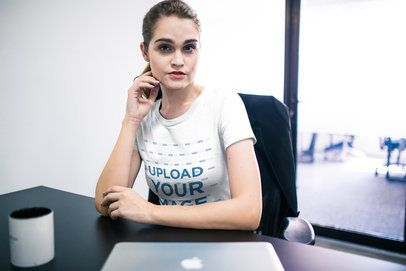 T-Shirt Template of a Girl Sitting on her Desk at the Office a20513