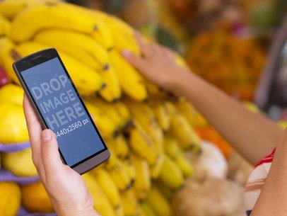 Girl Using LG G3 at Farmers Market