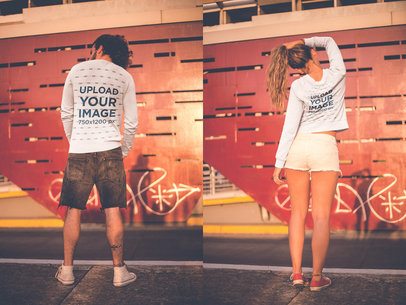 Back Shots of a Man and a Woman Wearing Crewneck Sweaters Mockup in the City a20600
