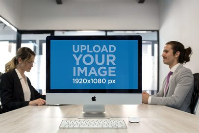 iMac Mockup Standing in an Interviews Room a20974