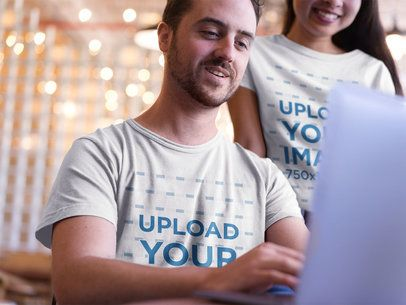 Man and Woman Wearing Round Neck Tshirts Mockup while Working a20426