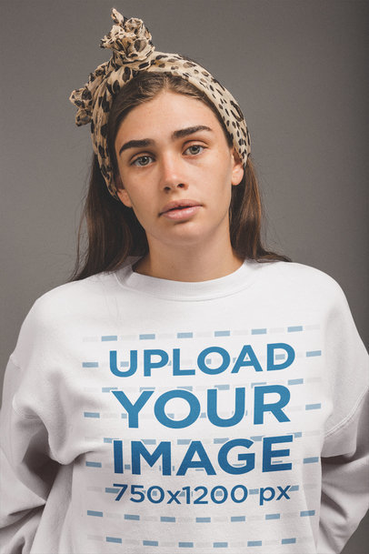 Crewneck Sweater Mockup of a White Woman with an Animal Print Headwrap a20867