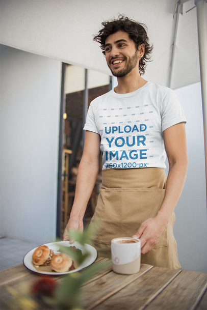 T-Shirt Mockup of a Waiter Serving his Customers a20475