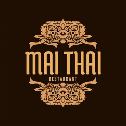 Thai Restaurant Logo Maker with Thai Patterns a1220