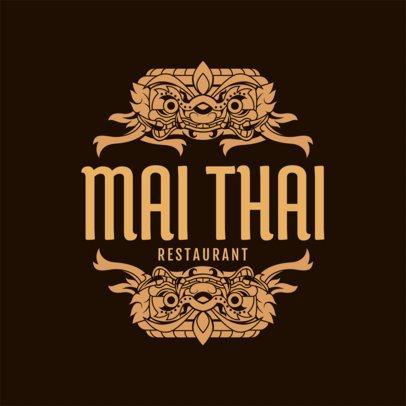 Thai Restaurant Logo Maker with Thai Patterns a1220
