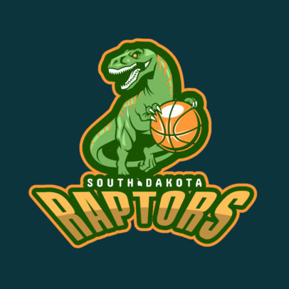 Basketball Logo Template with Dinosaur Illustration 336b