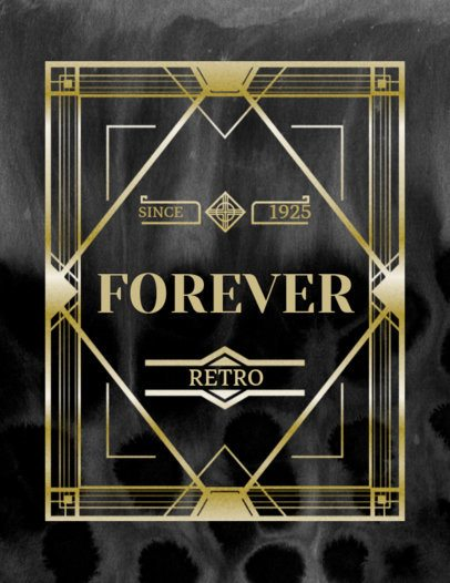 Gatsby Style T-Shirt Design Templates with Art Deco Style Fonts 10c