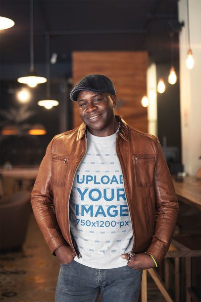 T-Shirt Mockup of a Black Man with a Leather Jacket and a Beret a21417