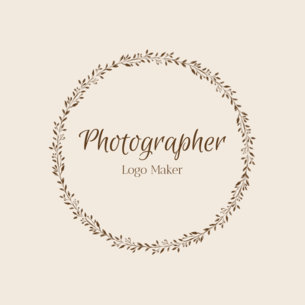 Photographer Custom Logo Maker with Floral Wreath Clipart 1084d