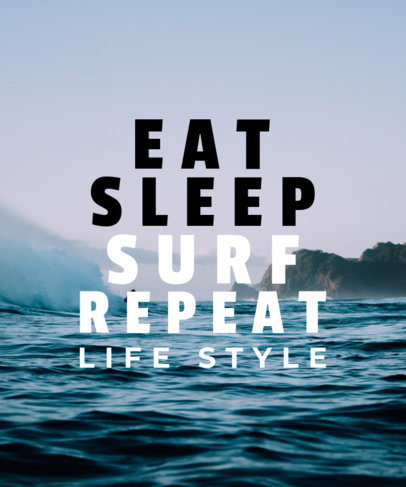 Surf Typography T-Shirt Design Template with Sea Background 40c