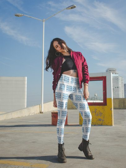 Mockup of a Trendy Girl Wearing Leggings while Posing in the City a19056
