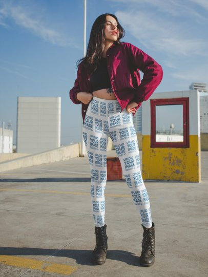 Leggings Mockup of a Girl with a Bomber Jacket on a Rooftop Parking Lot a19055