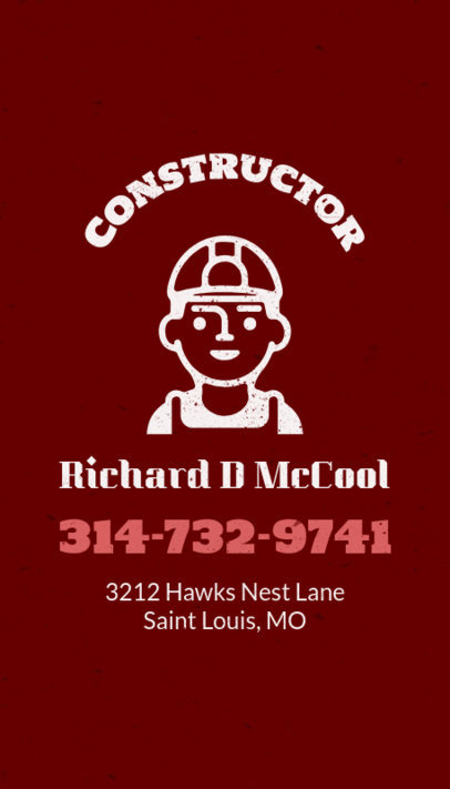 Construction Contractor Business Card Template 82a