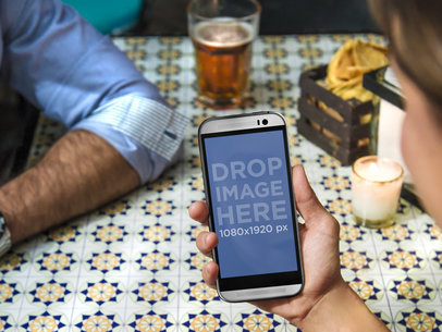 Android Mockup Template of Couple Having a Beer