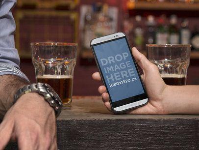 Android Mockup Generator Having Drinks at the Bar