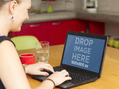 Working At Coffee Break Laptop Mockup Template