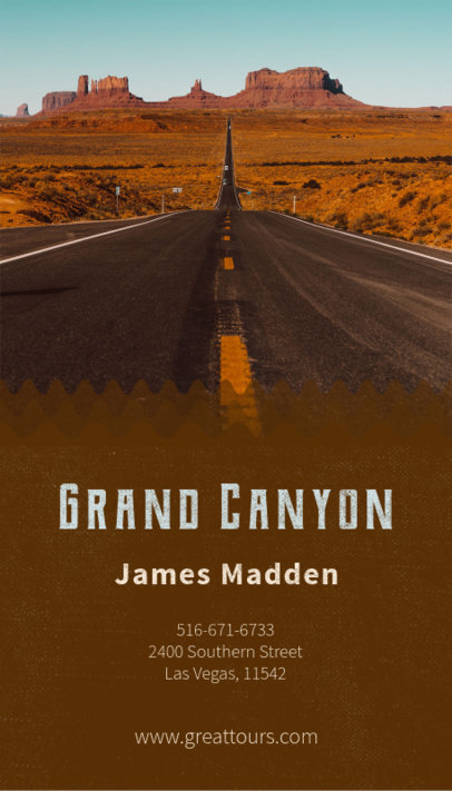 Vertical Business Card Template with Grand Canyon Image 160a