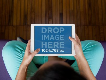 iPad Mockup Template of Woman Doing Yoga