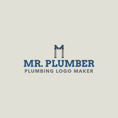 Plumbing Logo Maker with Centered Pipe Lettering 1239e