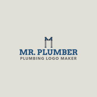 Plumbing Logo Maker with Centered Pipe Lettering 1239e