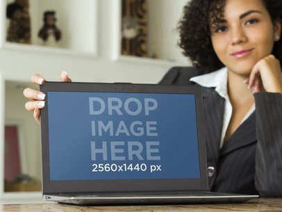 Businesswoman With PC Laptop Mockup Template