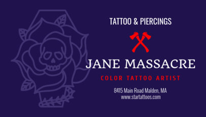Customizable Business Card for a Female Tattoo Artist 95b-1819
