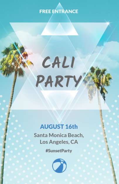 Online Flyer Maker for a Pool Party with Palm Trees 102e