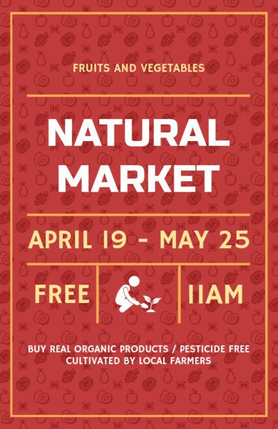 Farmers Market Flyer Maker Red Theme 177e
