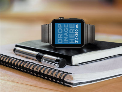 Apple Watch On A Moleskine Mockup Template